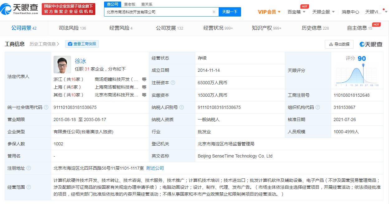 商汤科技关联公司注册资本增至6.5亿 增幅约333.33%